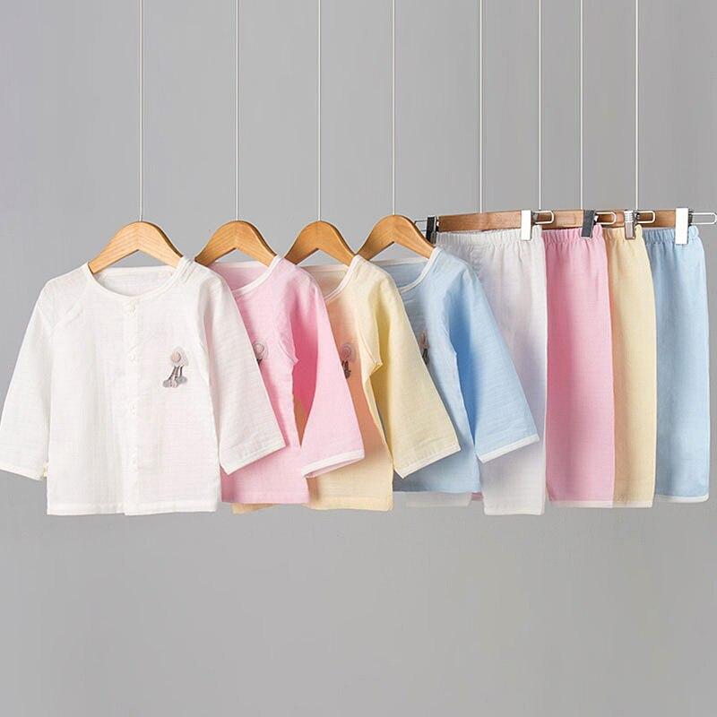 Pure Cotton Gauze Home Wear Jacquard Pajamas CHILDREN'S Suit Solid Color Summer Pajamas CHILDREN'S Suit Long Sleeve Air Conditio