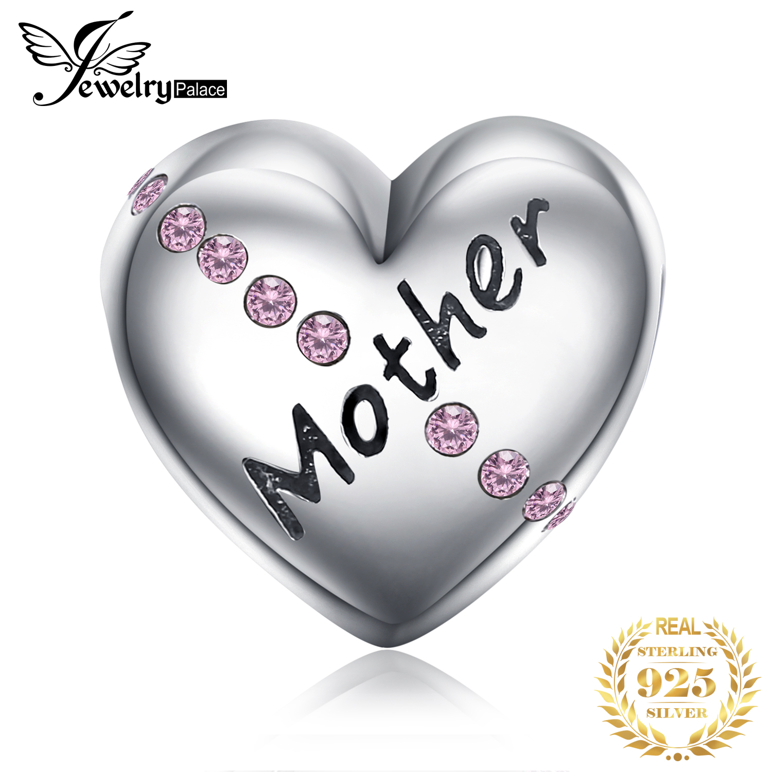 JewelryPalace Heart Mother 925 Sterling Silver Beads Charms Silver 925 Original For Bracelet Silver 925 Original Jewelry Making