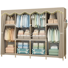 Simple Economic Assembled Solid Wood Wardrobe Dormitory Rental Home Cloth Storage Cabinet Storage Closet