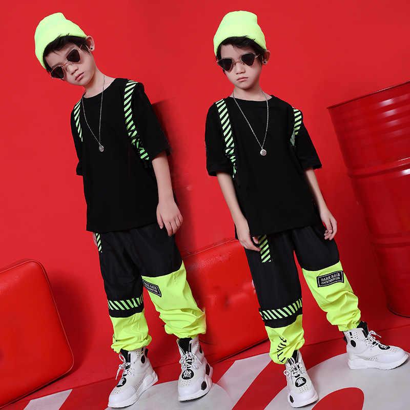 2020 Hip Hop Dance Kostuums Voor Jongens Meisjes Jazz Dance Tops Broek Kids Ballroom Dansvoorstelling Kleding Hiphop Set Stage outfit