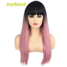 Joy&luck Long Natural Straight Synthetic Wig Black Ombre Pink Color Hair Wigs for Women(China)