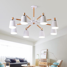купить Modern Chandelier Lighting For Living Room Wooden Chandeliers Ceiling  E27 Nordic Lustre With Iron Lampshade Art Deco Lustres дешево
