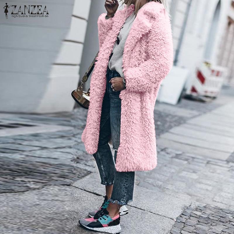 ZANZEA с отворотом и длинными рукавами Плюшевые Пушистые пальто из искусственного меха 2019 зимние женские длинные куртки с открытой передней ч...