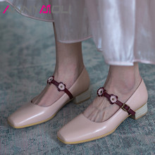 ANNYMOLI Woman Mary Janes Shoes Real Leather Med Heels Flower Square Toe Pumps Buckle Thick Heel Ladies Footwear Pink White 40 doratasia 2018 large size 30 47 candy colors square heels mary janes women shoes woman pumps date girls pumps shoes