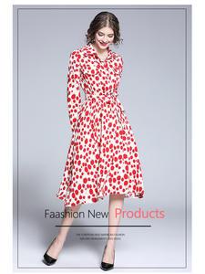 Print Dress Background Autumn Woman Casual Sweet Dot Linked-Pattern M-XXL Calf-Length