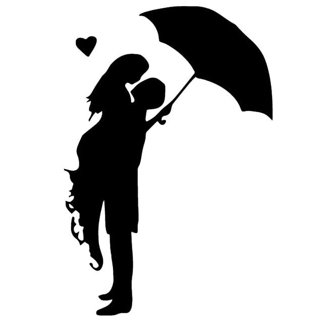 Romance Kiss Umbrella Rain Girl Fashion Vinyl Wall Decal Switch Sticker 6SS0053 5