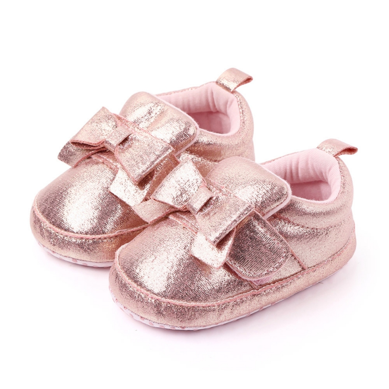 Baby Shoes Toddler Girls Shoes PU First Walkers Spring  Princess Bow Shoes Bowknot Lace Up Glitter Crib Sole Sneaker