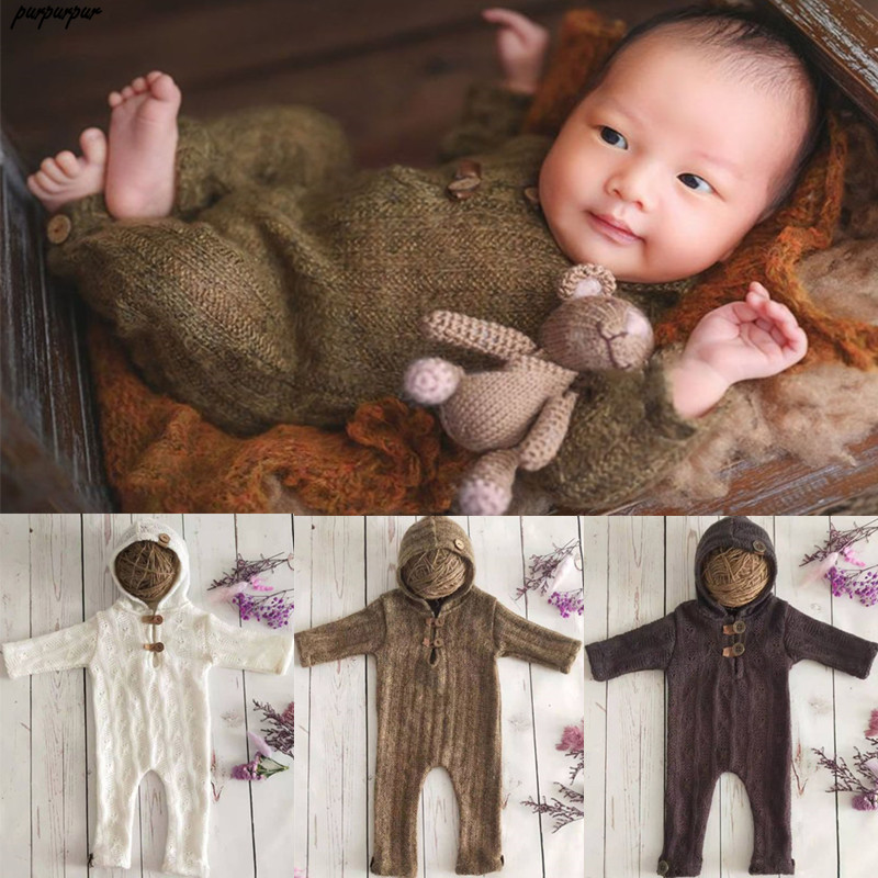 Newborn Photography Props Suit Romper With Hat Long Sleeve Jumpsuits Bodysuit Handmade Knit Outfit Clothing Infants Shower Gift