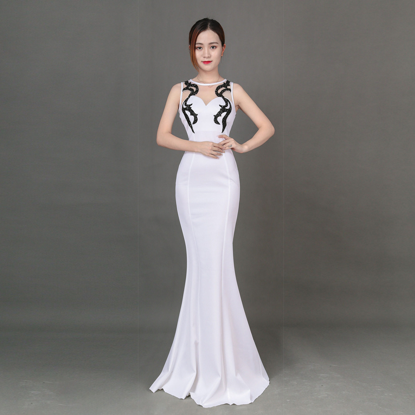 8175 #-Slim Fit Host Annual General Meeting Car Model Nightclub Catwalks Banquet Slimming Fashion Fishtail Evening Dress