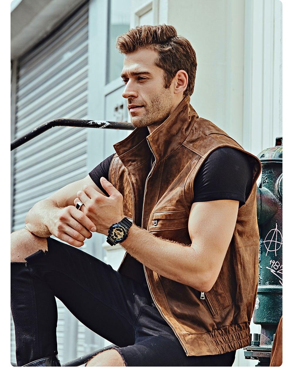 Hd8fc0f7bb4f3450d91882a6227757917G Mew Men's Leather Retro Vest Stand Collar Men's Motorcycle Casual Vest