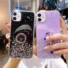 Coque scintillante avec support de téléphone, étui pour samsung Galaxy J7 J6 J5 J4 P A91 A81 A80 A90 A71 A70 A60 M40 A51 A50 S10lite