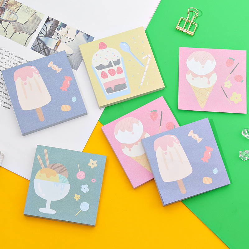 80 Sheet Strawberry Ice Cream Sticky Note Book Kawaii Paper Memo Pad Planner Sticker Post Cute Office Stationery