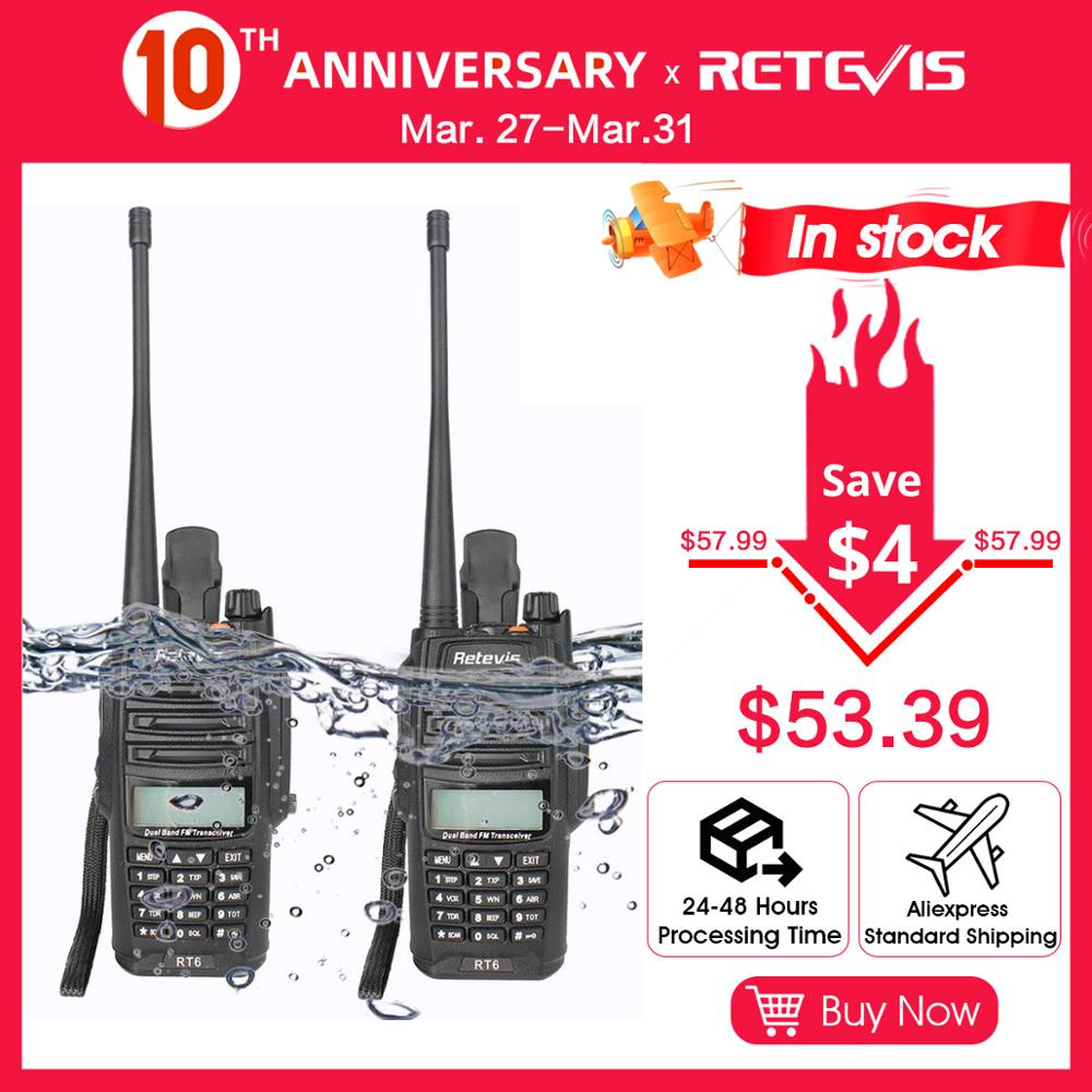 RETEVIS RT6 A Pair Walkie Talkie Waterproof 5W VHF VHF Dual Band Waterproof Two-way Radio Station Ham Transceiver Walkie-Talkie
