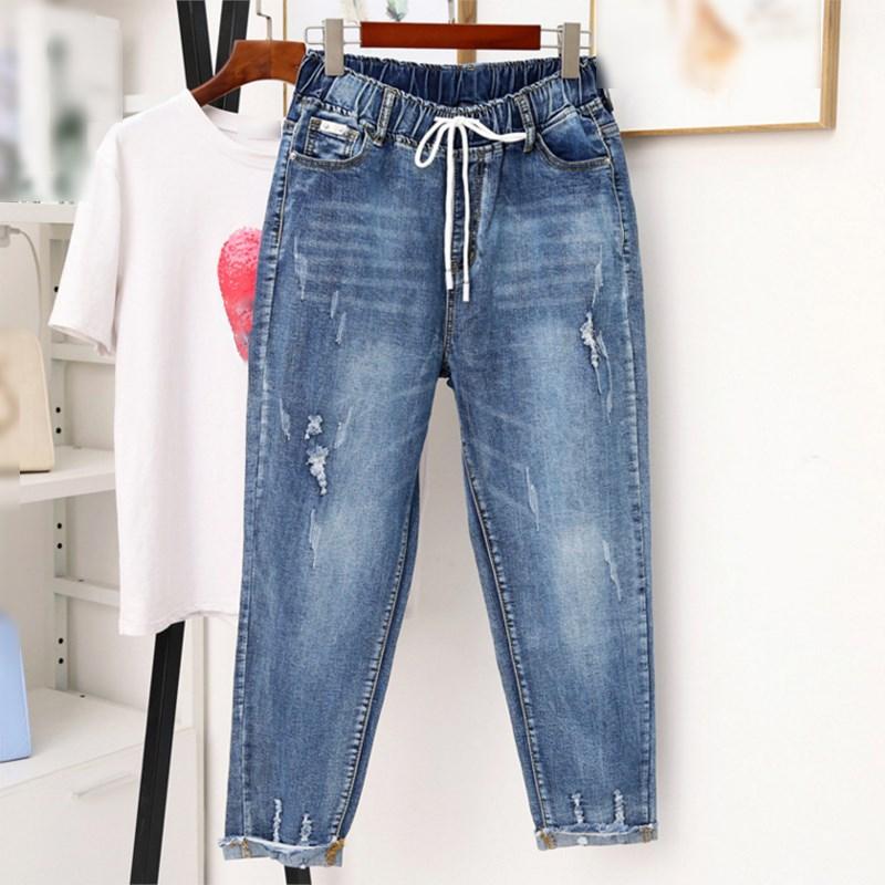 Women Fall Elastic Waist Lace Up Jeans Washed Ladies High Waist Casual Denim Trousers Boyfriend Plus Size Jean Harem Pants