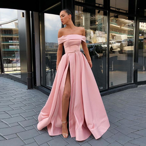 Image 2 - 2020 BEPEITHY Spring Robe De Soiree Pink Off The Shoulder Evening Dresses With High Slit Sexy Long Prom Party Dress Abendkleider