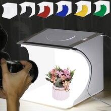PULUZ 23*23cm Mini Folding Photo Video Box Studio Diffuse Soft Box Lightbox With LED Light Shooting Tent Box puluz 2led lightbox light box mini photo studio box 1100lm photography box light studio shooting tent box kit