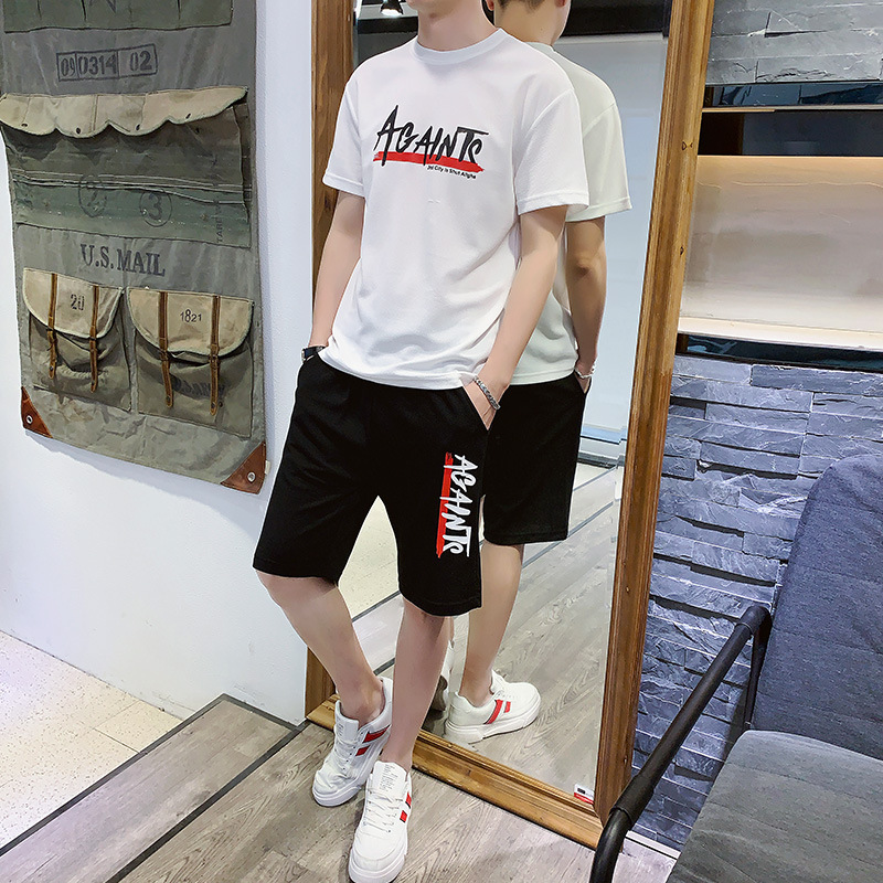 2019 Summer New Style Handsome Trend Printed Sports Leisure Suit Men's New Ant Wrinkled Cloth Short Sleeve Shorts