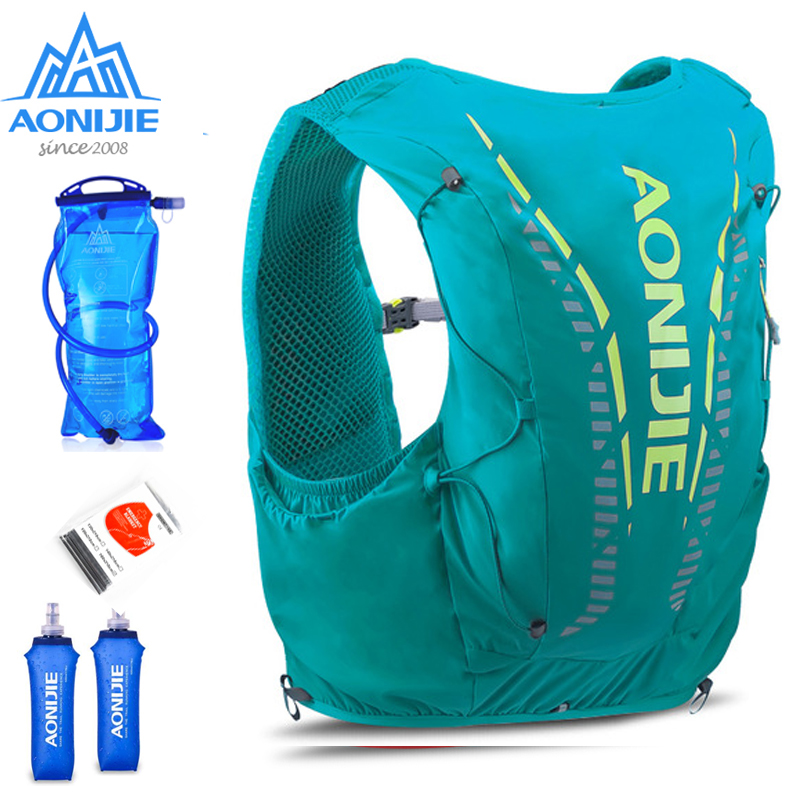 AONIJIE C962 12L  Green Hydration Backpack Advanced Skin  Pack Bag Vest Soft Water Bladder Flask Professional Running Bag