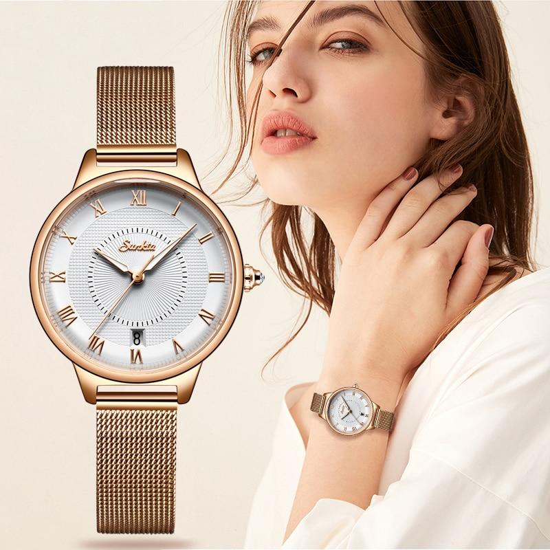 SUNKTA Luxury Women Watches Simple Fashion Dress Quartz Watch Women's Full Steel Casual Waterproof Watch Relogio Feminino +Box