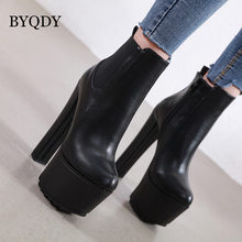 BYQDY Ultra High Chunky Heels Women Motorcycle Boots Casual Zipper Round Toe Platform Block Black Shoes Size 40