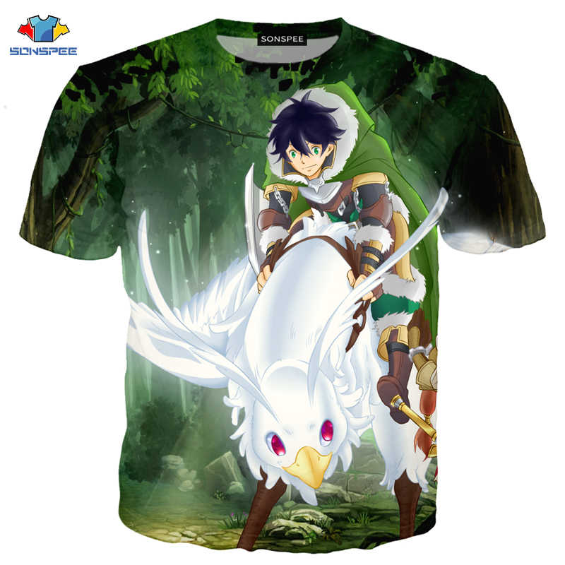 Sonspee novo anime tate não yuusha não nariagari camiseta masculina bonito pouco loli camisa dos desenhos animados planta floresta animal camiseta