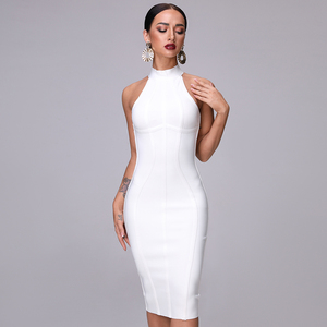 Image 3 - SUE DREAM Womens 2020 New Sexy White High Neck Sleeveless Bandage Dress And Knee Length Sexy Bodycon Runway Dresses