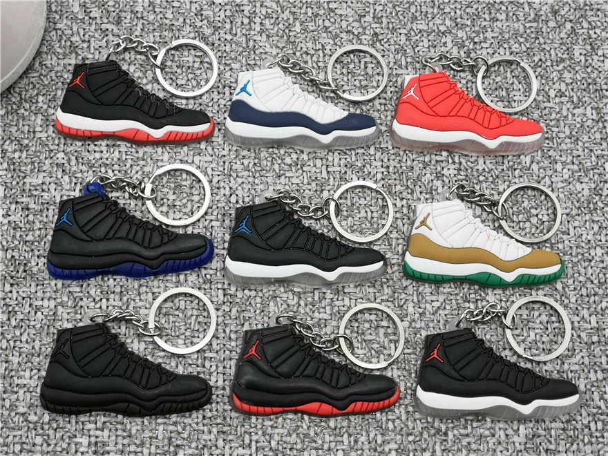 新ミニ AJ ジョーダン 11 靴キーホルダー男性女性子供ジョーダンキーリングギフトレトロバスケットボールスニーカーキーチェーンキーホルダーポルトクレフ