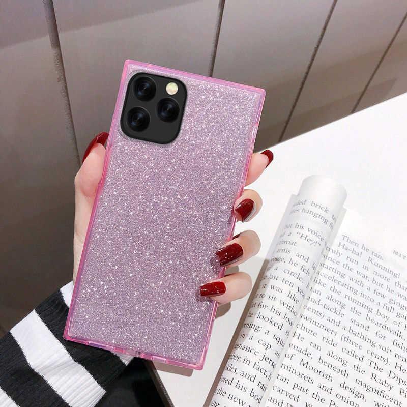 Yisahngou Persegi Mewah Bling Glitter Bubuk Case untuk iPhone 11 7 8 6 Plus X XS Max Xr Silikon Lembut TPU Tahan Guncangan Case Coque