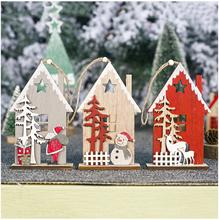 1pcs Christmas Wooden Cabin Pendant Accessories Wood Painted Santa Claus Creative Hollow Tree Ornaments