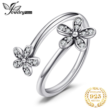 JewelryPalace Flower Cubic Zirconia Ring 925 Sterling Silver Rings for Women Stackable Band Jewelry Fine