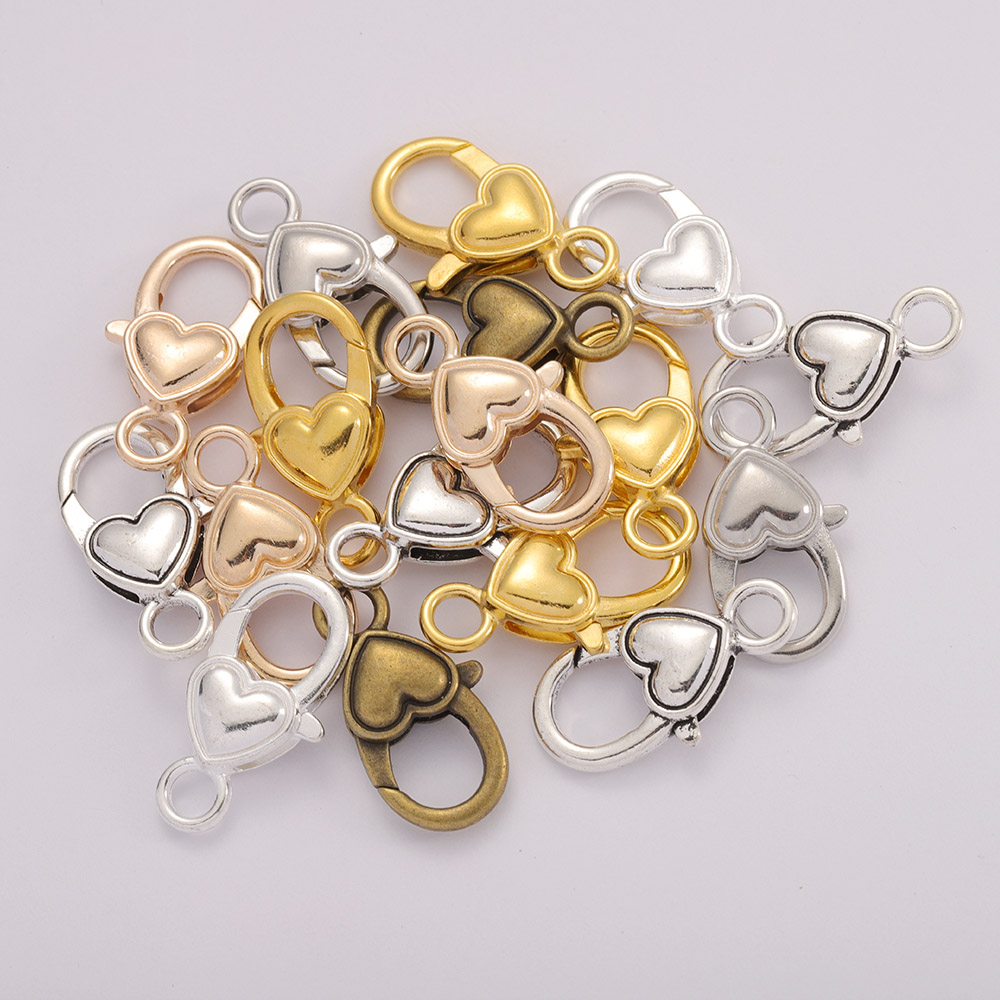 10pcs/lot 27x14MM Antique Silver Heart Shape Lobster Clasp Hooks Necklaces Bracelet Chain Connectors For DIY Jewelry Accessories
