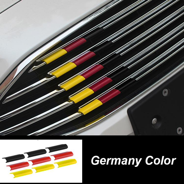 9 шт., Пластиковая передняя решетка для автомобиля, крышка для гриля, отделка, флаг Германии, цвет, подходит для Renault Koleos Latitude Fluence купе Megane Clio