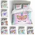 Мультяшный единорог, радужные цвета, 3D комплект постельного белья, Забавный Печатный пододеяльник, Набор наволочек, королева, король, двойн...