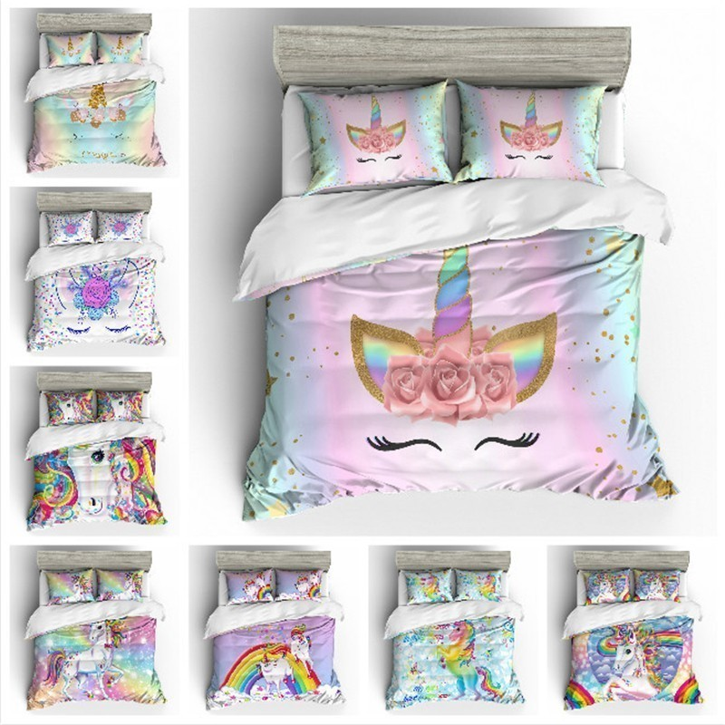 Cartoon Unicorn Rainbow Colors 3D Bedding Set Funny Printed Duvet Cover Set Pillowcases Queen King Twin Size Home Textile