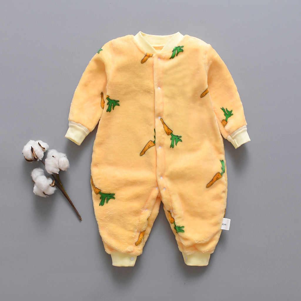 2019 sonbahar ve kış yenidoğan bebek giysileri dinozor baskı bebek Romper sıcak bebek bebek erkek kız yumuşak polar tulum pijama