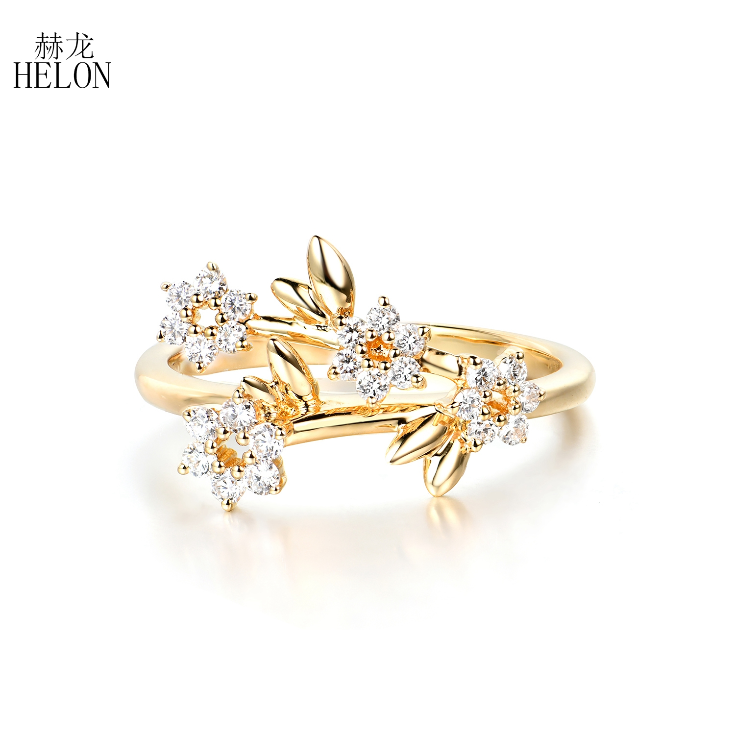 HELON Solid 14k Yellow Gold Round SI/H 0.28ct Genuine Natural Diamond Engagement Ring Women Wedding Party Classic Fine Jewelry