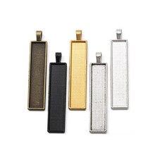 10pcs Metall Rechteck Anhänger Blank Cabochon Lünette Einstellungen Fit 10X50mm Cameo Glas Für DIY Halskette schlüsselanhänger Schmuck Machen