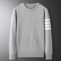 Молодёжный мужской свитер, тонкий вязаный с длинным рукавом 1