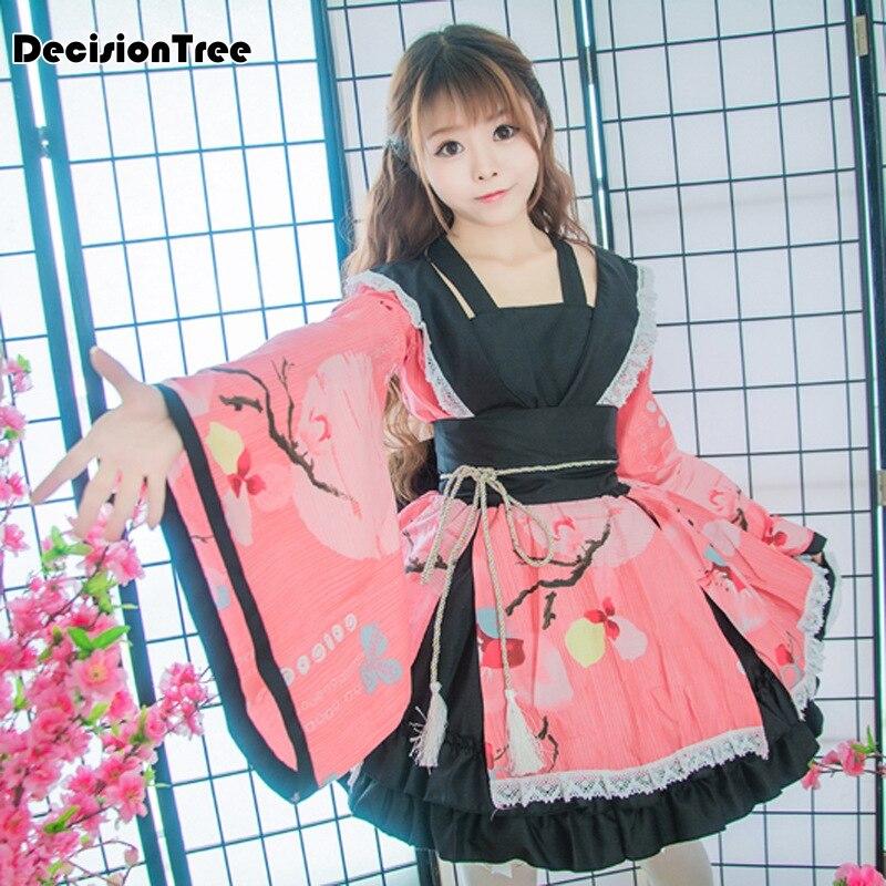 2019 Vintage Improved Women Cosplay Anime Costume Elegant Cotton Female Yukata Dress Japanese Traditional Girl Kimono Christmas