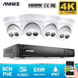 Image 1 - ANNKE 8CH 4K Ultra HD POE Network Video Security System 8MP H.265+ NVR With 4pcs 8MP Weatherproof IP Camera Support 128G TF Card