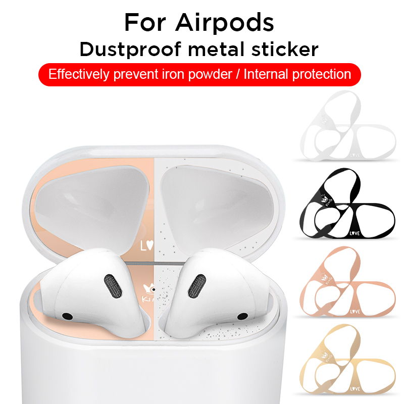 For Apple AirPods 2 1 Patterned Metal Dustproof Protection Sticker Earphone Inner Protector Cover For Airpods Dust Guard Sticker