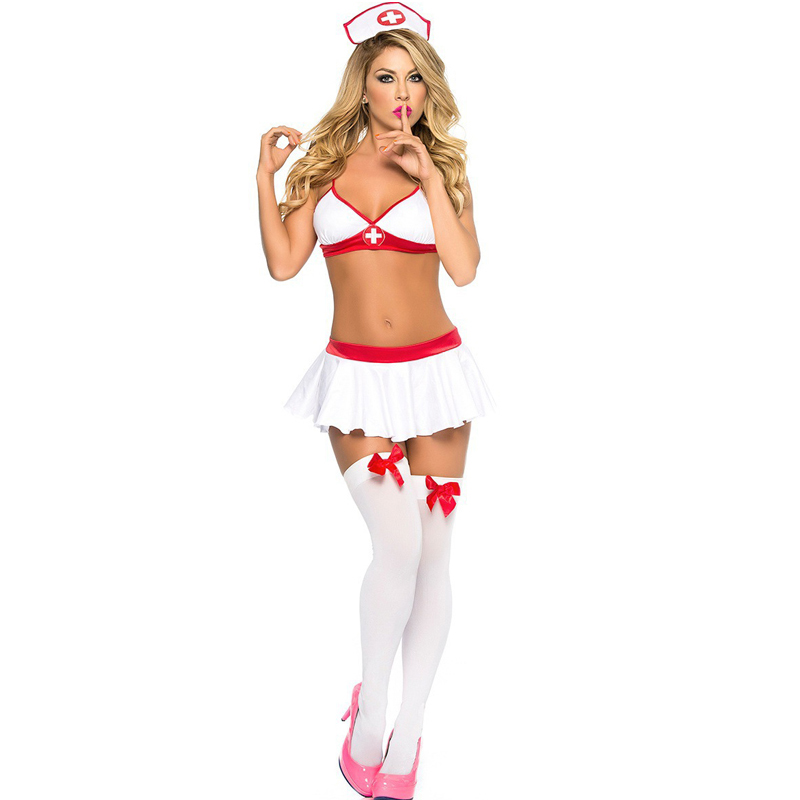 Women Sexy Lingerie Nurse Cosplay Uniform Costume Outfit Halloween Fancy Dress Exotic Costumes