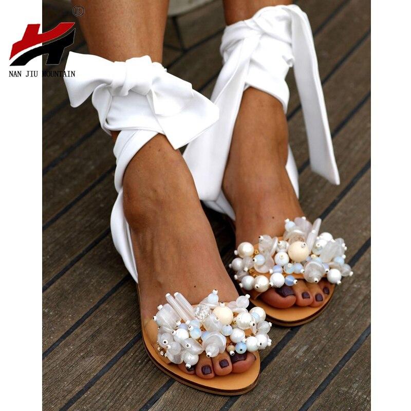 NAN JIU MOUNTAIN 2020 Handmade Sandals Women Flat Sandals Ankle Strap Beaded Special Women's Shoes Beach Sandals Plus Size 35-43