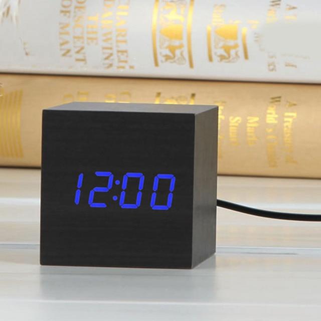 Digital Thermometer Alarm Clock Wooden LED Backlight Voice Control Retro Glow Watch Desktop Table Luminous Clock Home Decoration 5