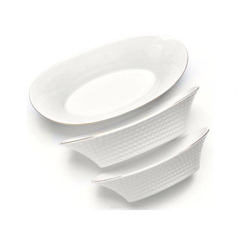 Набор салатников LORAINE, 3 предмета, с узором набор салатников rosenberg 4 предмета белый с узором