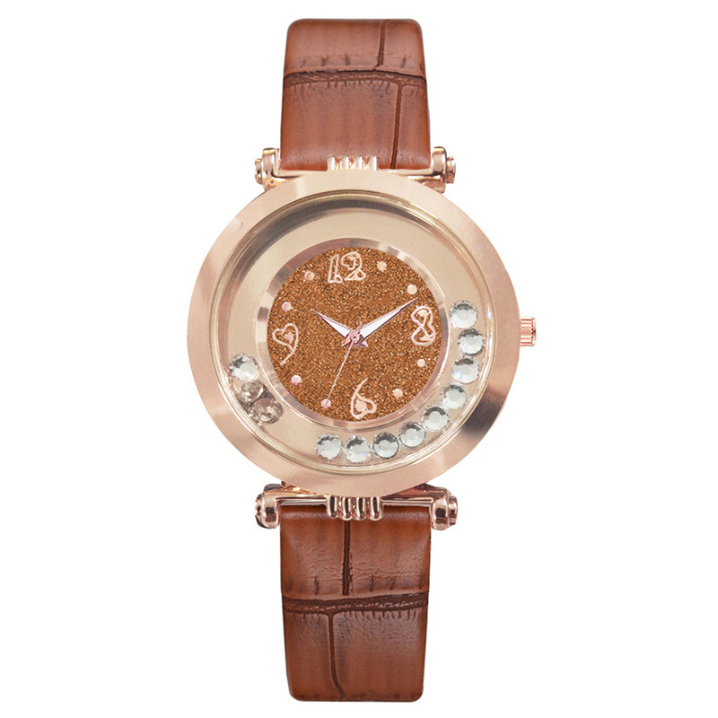 Rolling crystal Flower Ladies Wristwatches Women 39 s Fashion white Casual Leather Watch Beauty Woman Quartz Clock Reloj Mujer in Women 39 s Watches from Watches