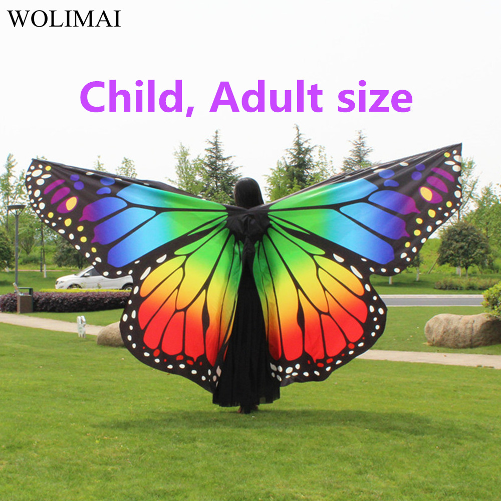 Belly Dance Wings Butterfly Wings Sticks Bag Kids Belly Dancing Costume Children Women Adult Bellydance Colorful Wings Robs