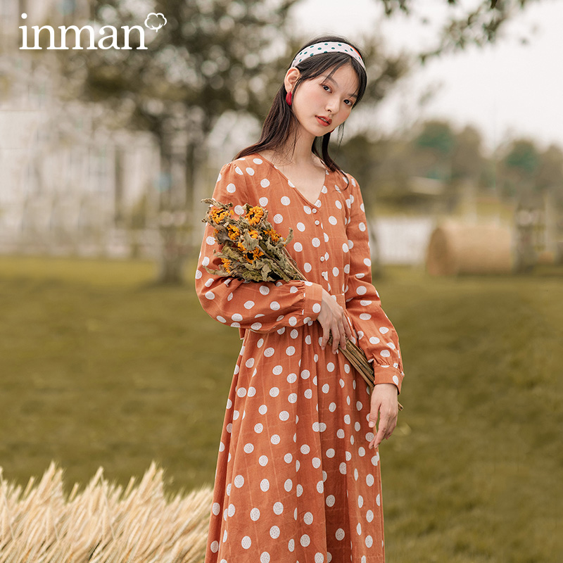 INMAN 2020 Autumn New Arrival Vintage Pot-dot V-neck Long-sleeve With A Slimming Bow Tie Dress