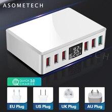 6 포트 빠른 충전 3.0 usb 충전기 어댑터 디지털 디스플레이 usb 충전기 아이폰에 대 한 빠른 전화 충전기 삼성 s10 xiaomi 화 웨이