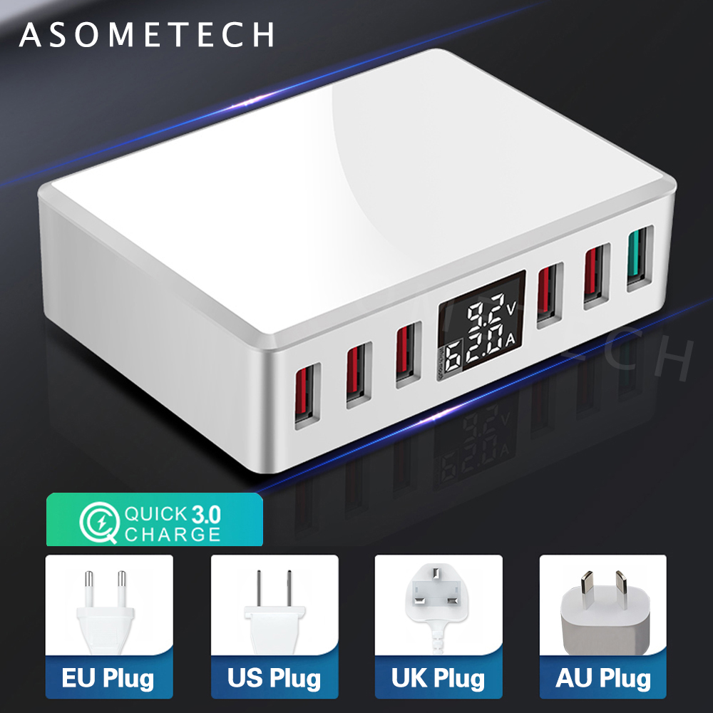 6 Ports Quick Charge 3.0 USB Charger Adapter Digital Display USB Charger Fast Phone Charger For IPhone Samsung S10 Xiaomi Huawei